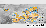 Political Shades Panoramic Map of Europe, desaturated