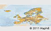 Political Shades Panoramic Map of Europe, lighten