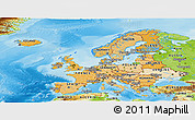 Political Shades Panoramic Map of Europe, physical outside