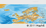 Political Shades Panoramic Map of Europe