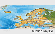 Political Shades Panoramic Map of Europe, satellite outside, bathymetry sea