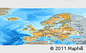 Political Shades Panoramic Map of Europe, semi-desaturated, land only