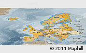 Political Shades Panoramic Map of Europe, semi-desaturated