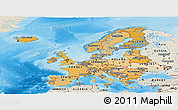 Political Shades Panoramic Map of Europe, shaded relief outside, bathymetry sea
