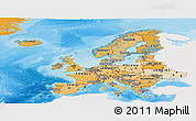 Political Shades Panoramic Map of Europe, single color outside
