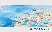 Shaded Relief Panoramic Map of Europe