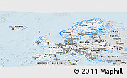 Silver Style Panoramic Map of Europe