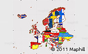 Flag Simple Map of Europe