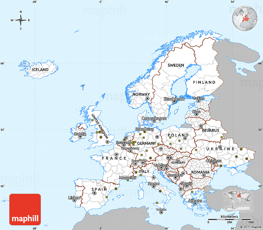 Simple Site Map: Gray Simple Map Of Europe, Single Color Outside