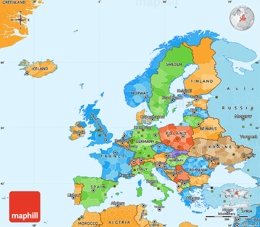 simple map of europe and asia Political Simple Map of Europe, political shades outside