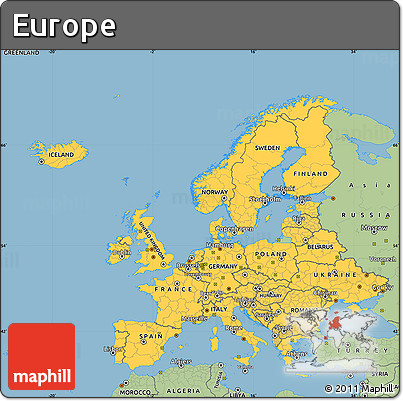 Simple European Map Style Simple Map of Europe