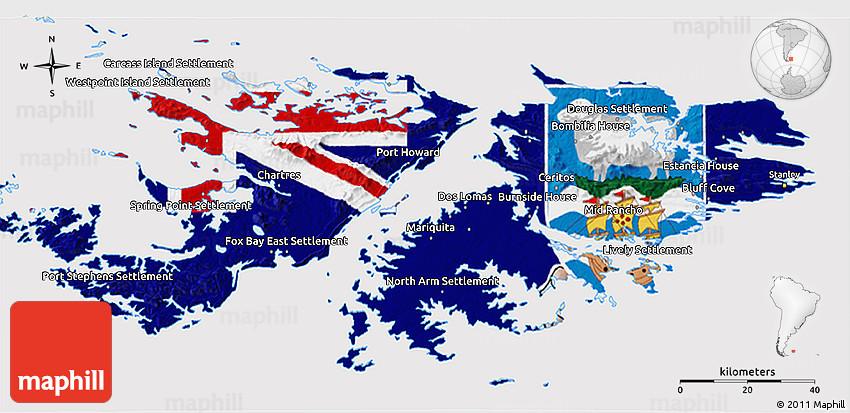 Flag 3D Map of Falkland Islands Islas Malvinas