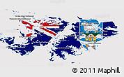 Flag 3D Map of Falkland Islands (Islas Malvinas)