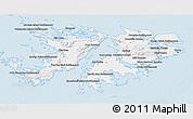 Gray 3D Map of Falkland Islands (Islas Malvinas)