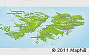 Physical 3D Map of Falkland Islands (Islas Malvinas)