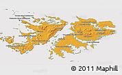 Political Shades 3D Map of Falkland Islands (Islas Malvinas), cropped outside