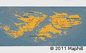 Political Shades 3D Map of Falkland Islands (Islas Malvinas), darken