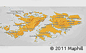 Political Shades 3D Map of Falkland Islands (Islas Malvinas), desaturated