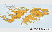 Political Shades 3D Map of Falkland Islands (Islas Malvinas), lighten