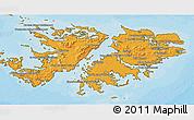 Political Shades 3D Map of Falkland Islands (Islas Malvinas), satellite outside, bathymetry sea