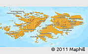 Political Shades 3D Map of Falkland Islands (Islas Malvinas), semi-desaturated, land only