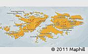 Political Shades 3D Map of Falkland Islands (Islas Malvinas), semi-desaturated