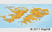 Political Shades 3D Map of Falkland Islands (Islas Malvinas), shaded relief outside, bathymetry sea