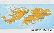 Political Shades 3D Map of Falkland Islands (Islas Malvinas), single color outside