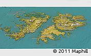 Satellite 3D Map of Falkland Islands (Islas Malvinas)