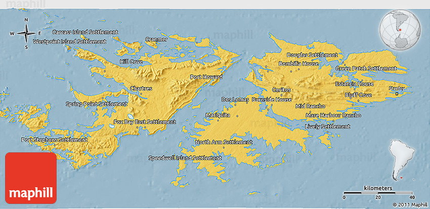 Savanna Style 3D Map of Falkland Islands Islas Malvinas