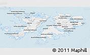 Silver Style 3D Map of Falkland Islands (Islas Malvinas)