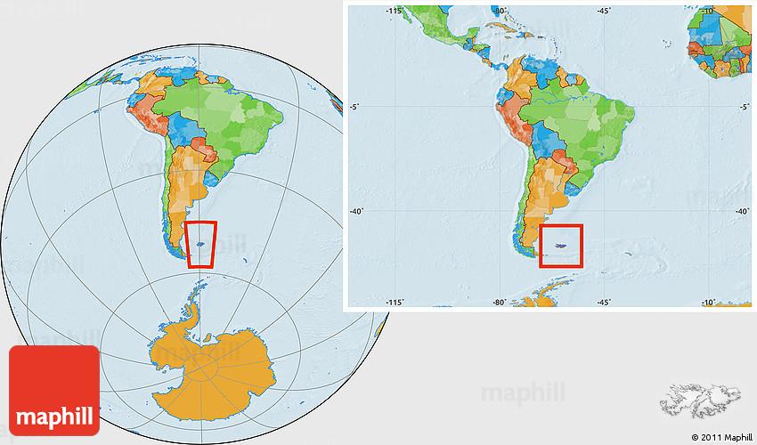 Political Location Map of Falkland Islands Islas Malvinas within