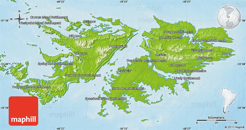 Physical Map of Falkland Islands Islas Malvinas