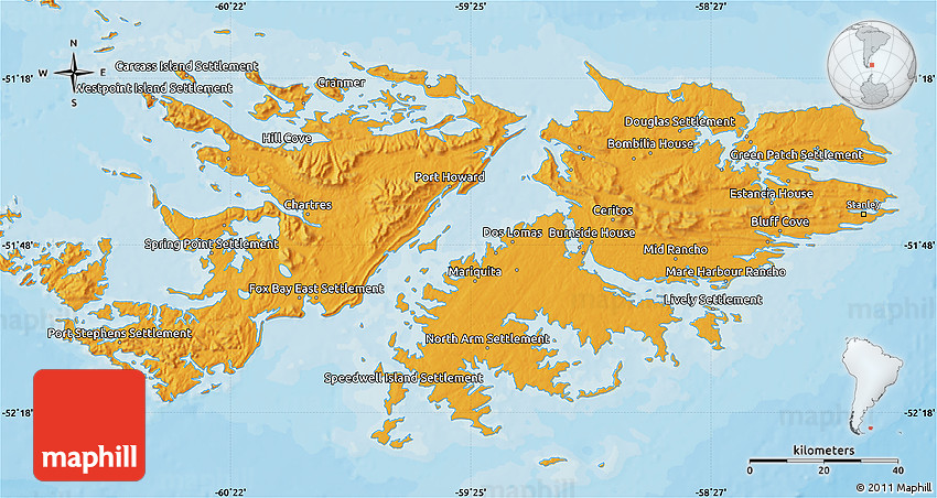 Political Map of Falkland Islands Islas Malvinas