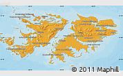 Political Shades Map of Falkland Islands (Islas Malvinas)