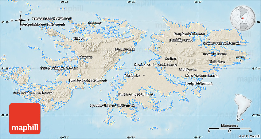 Shaded Relief Map Of Falkland Islands Islas Malvinas - Falkland islands map