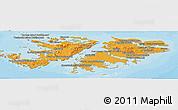 Political Shades Panoramic Map of Falkland Islands (Islas Malvinas)