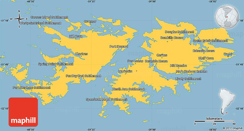 Savanna Style Simple Map of Falkland Islands Islas Malvinas