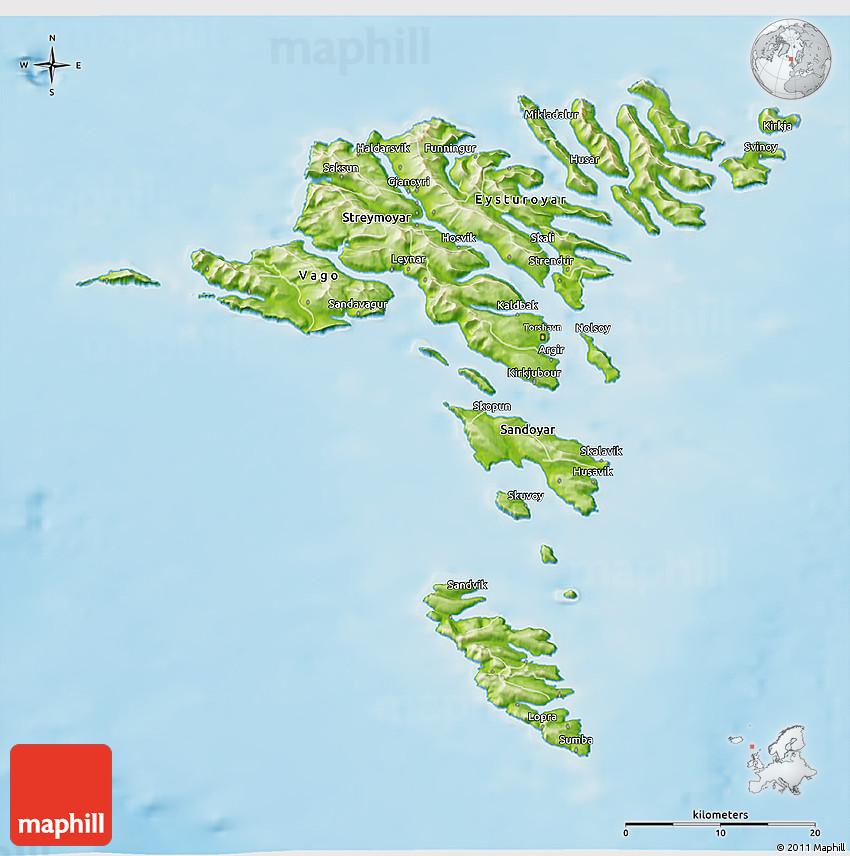 Physical 3D Map of Faroe Islands