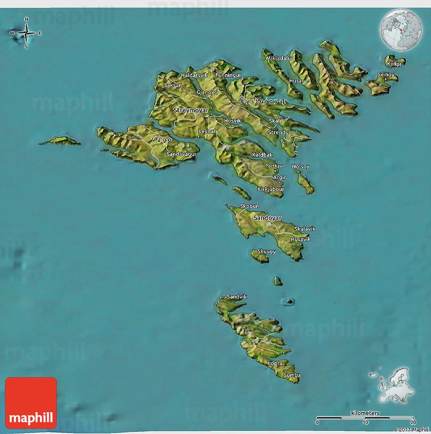 Satellite 3D Map of Faroe Islands