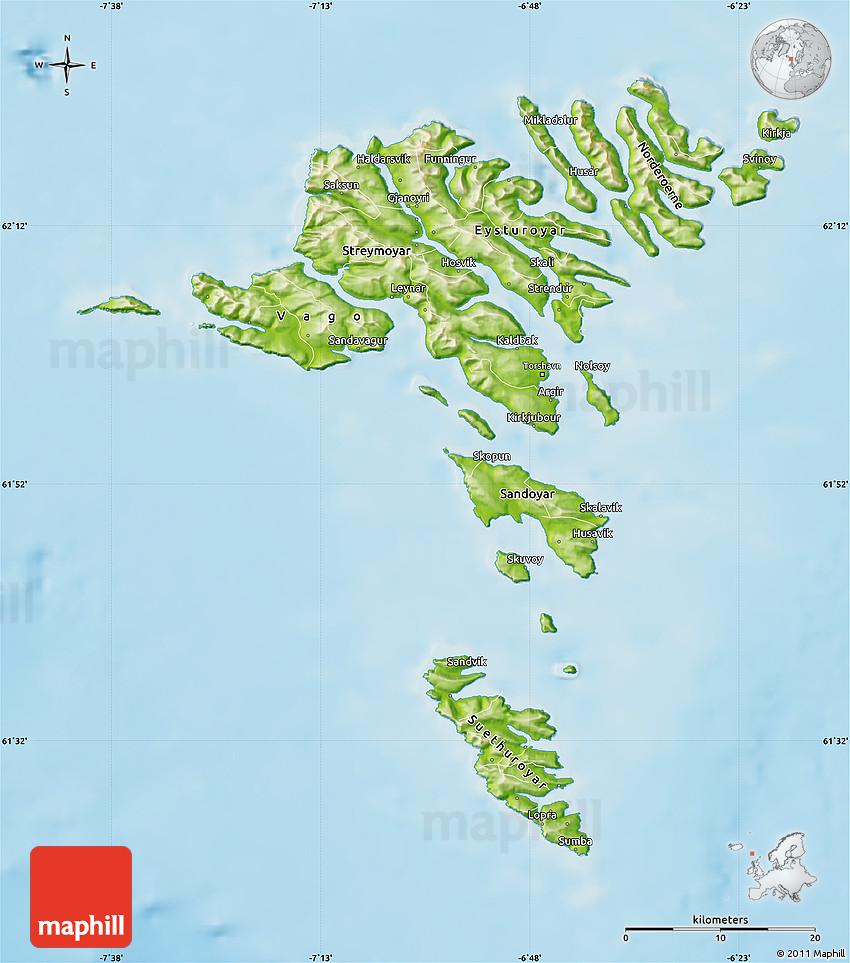 physical map of faroe islands -