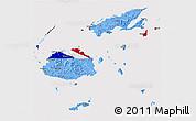Flag 3D Map of Fiji, flag centered