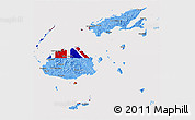 Flag 3D Map of Fiji, flag rotated
