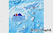 Flag 3D Map of Fiji, political outside
