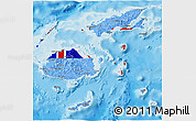 Flag 3D Map of Fiji, political shades outside