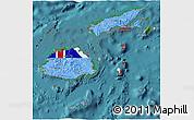 Flag 3D Map of Fiji, satellite outside