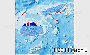 Flag 3D Map of Fiji, shaded relief outside