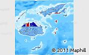 Flag 3D Map of Fiji, single color outside, bathymetry sea