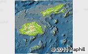 Physical 3D Map of Fiji, darken