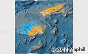 Political 3D Map of Fiji, darken